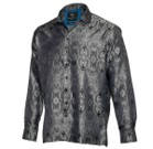 Contemporary Paisley Black Men's Long Sleeve Jacquard Woven Classic Collar Dress Shirt