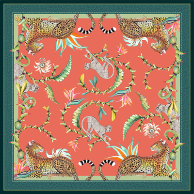 Monkey Paradise Tablecloth in Coral table cloth